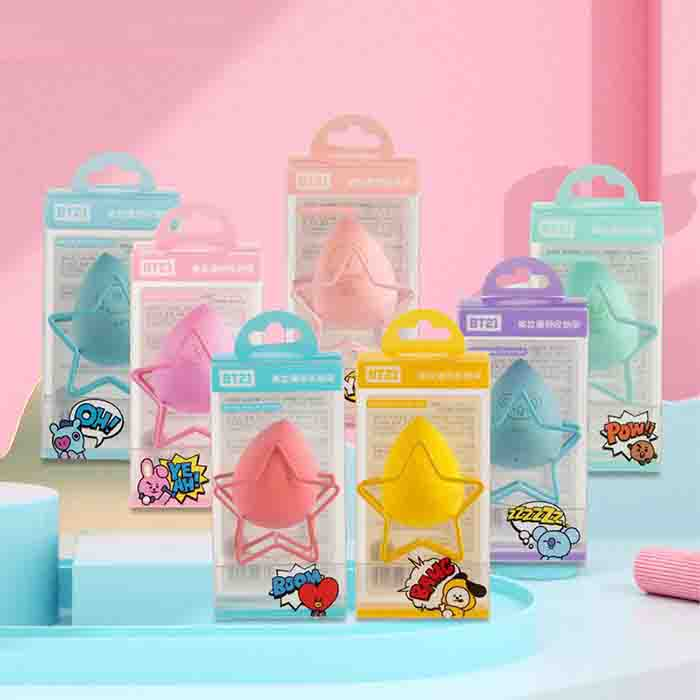 BT21 Candy Color Powder Puff (With Storage Rack)