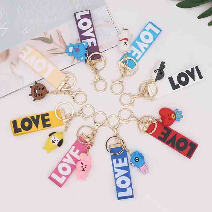 BT21 Cartoon Ribbon Keychain