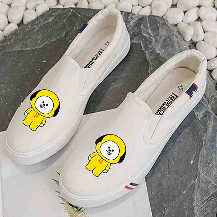 BT21 Character White Canvas Shoes