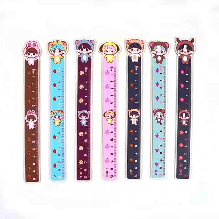 BTS Cartoon Characters Ruler - GROUP / BLACK / - Bag