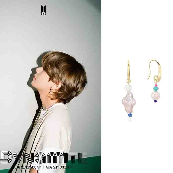 BTS Dynamite V Pearl Asymmetric Earrings
