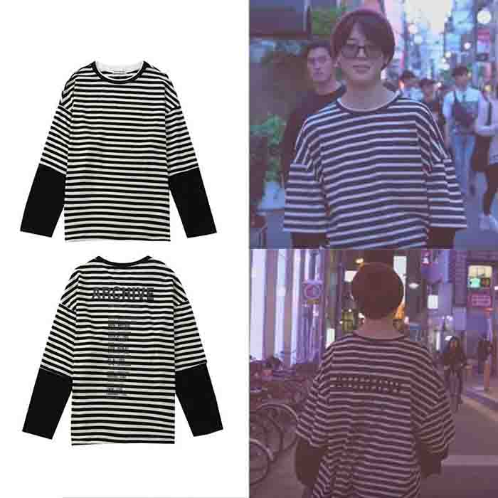 BTS Jimin B&W Striped shirt