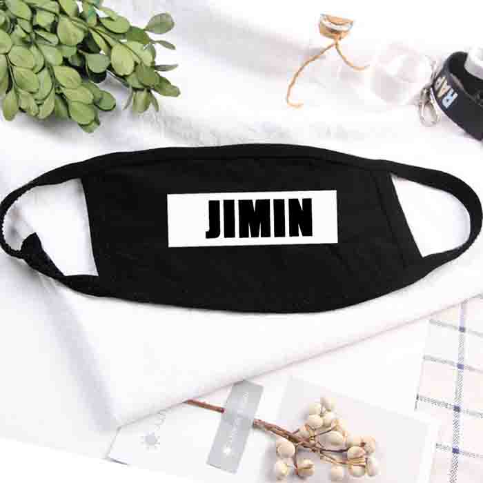 BTS Member Name Printed Black Mouth Mask