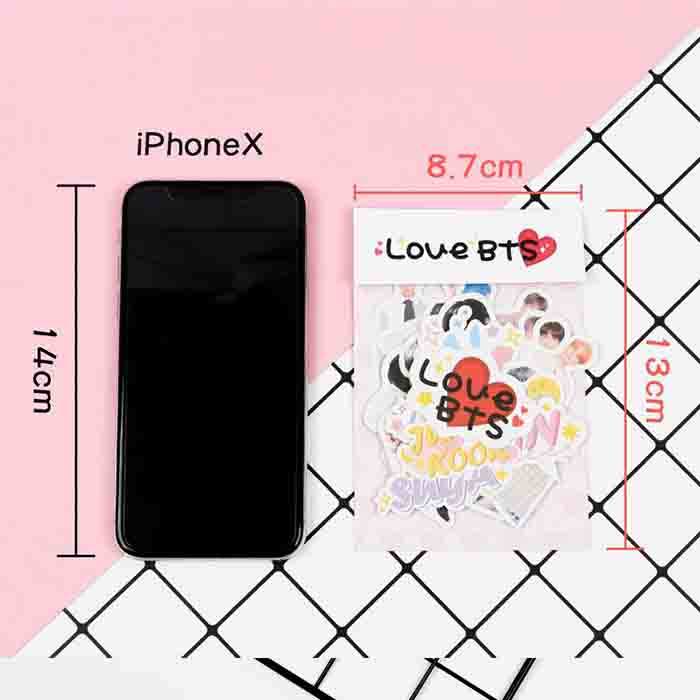 12Sheet-Pink 180PCS BTS Stickers,Cute Stickers for Door,Car,Skateboard,Cellphone Stickers,Gift for Fans