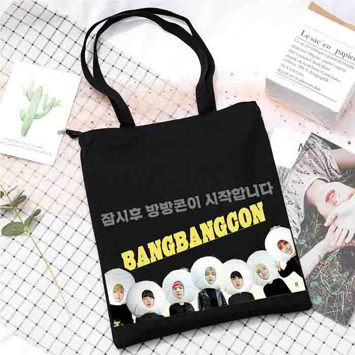 BTS X Online Concert Memorial Canvas Bag - GROUP / BLACK / - Bag