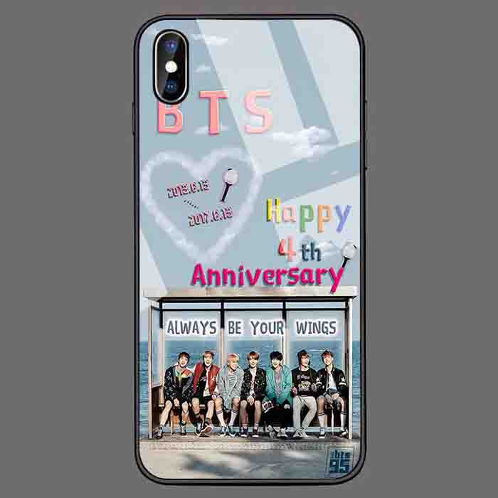 BTS X TEMPERED GLASS PHONE CASE